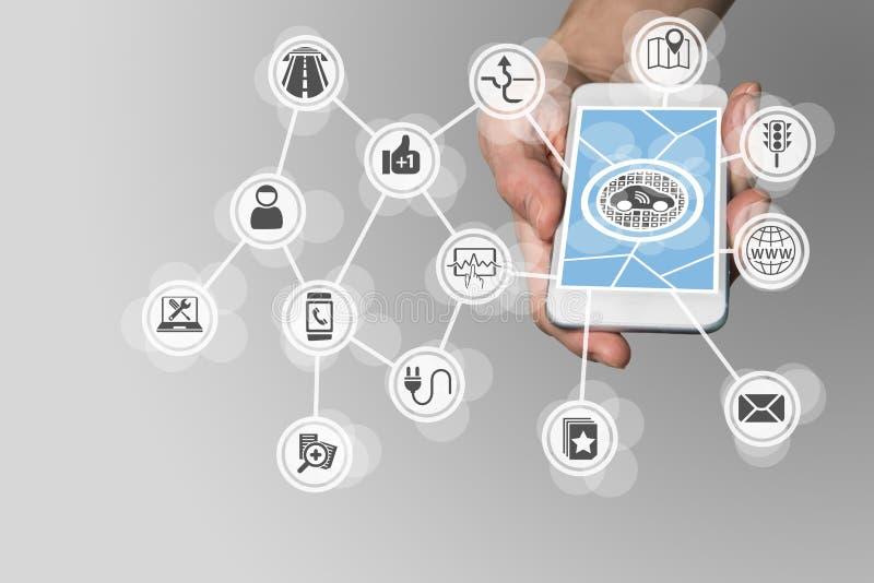 Вручите держать умный телефон для того чтобы управлять соединенными компонентами автомобиля как система развлекательно-информацио иллюстрация вектора