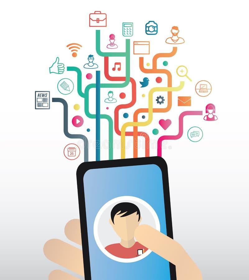 Вручите держать smartphone против красочных значков app с линиями иллюстрация штока