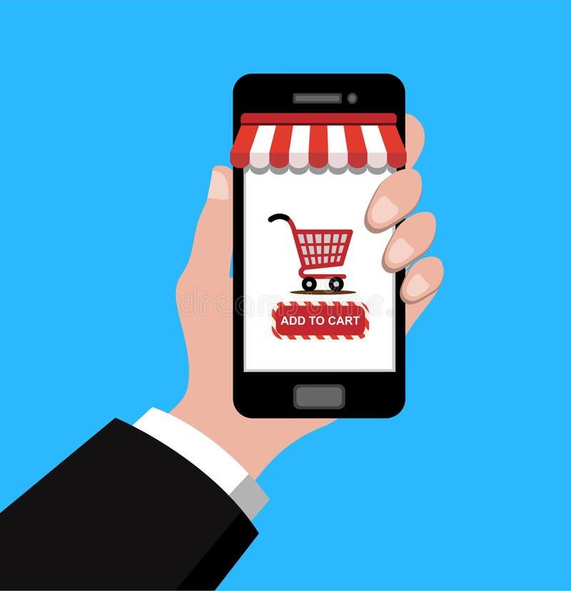 Вручите держать smartphone с магазинной тележкаой на scree, иллюстрация вектора