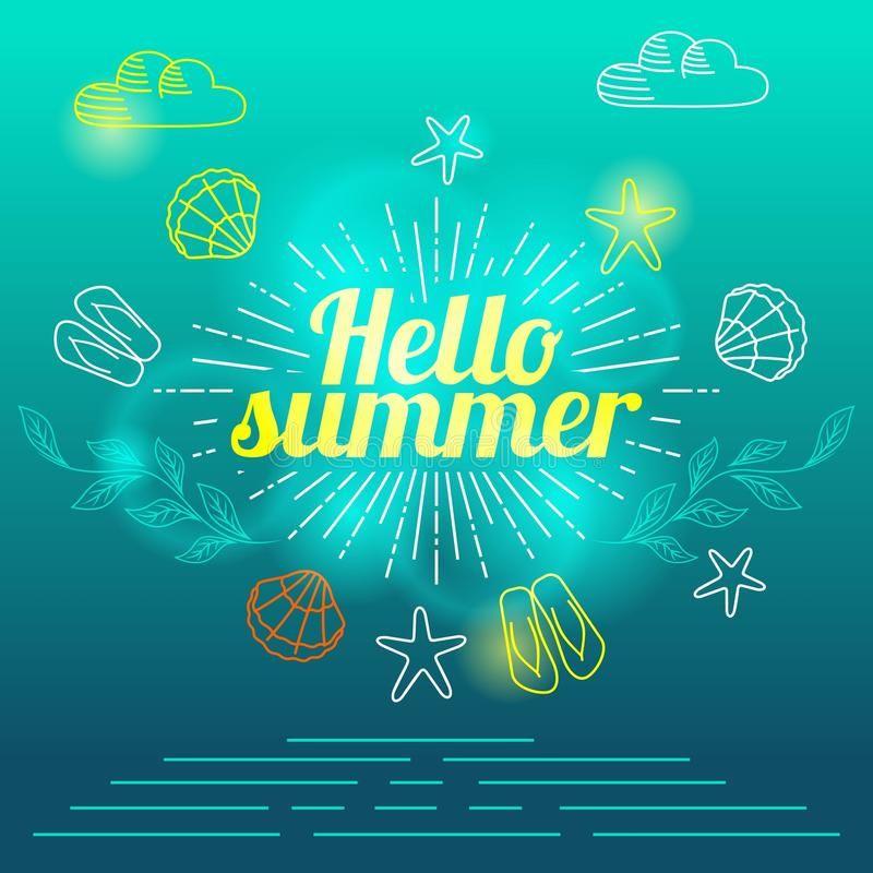 Вручите летние отпуска помечая буквами, иллюстрацию настроения лета элементов чертежей вектора иллюстрация штока