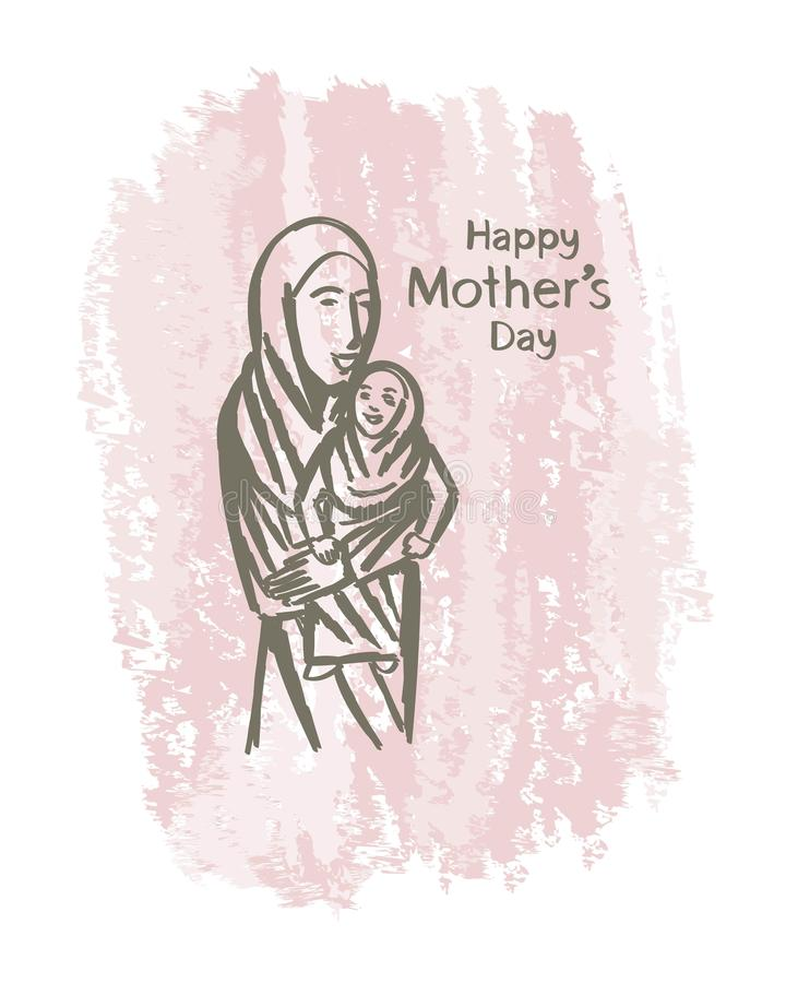 Вручите женщинам вычерченного счастливого дня ` s матери мусульманским искусство стоковая фотография rf