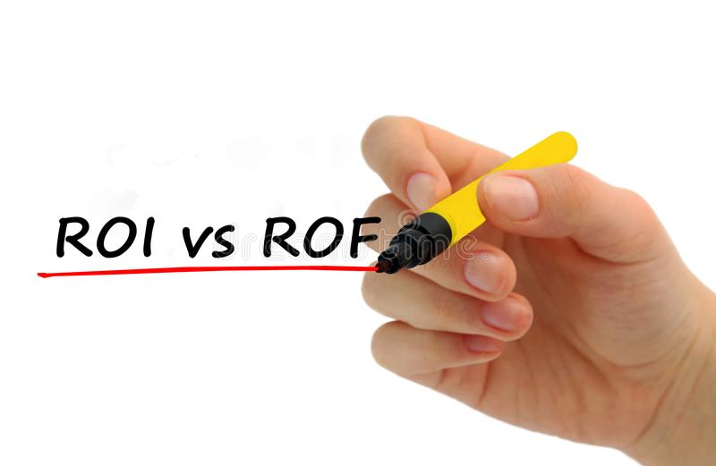 Вручите запись ROI против ROF с красной отметкой стоковая фотография