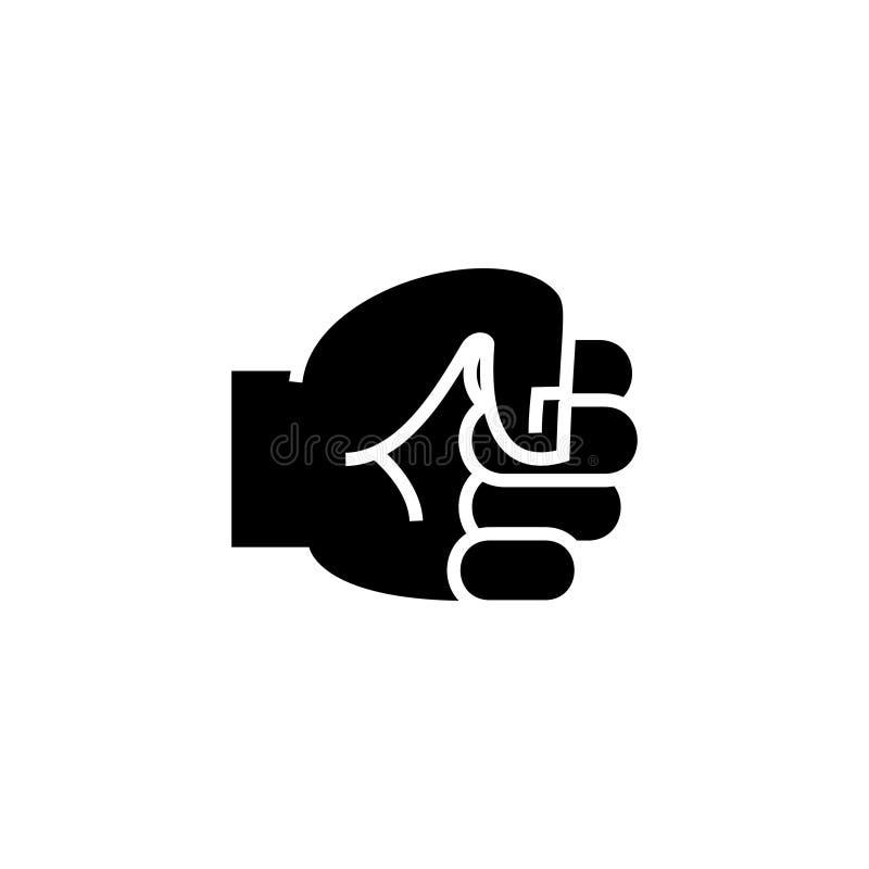 Вручите значок кулака, иллюстрацию вектора, черный знак на изолированной предпосылке бесплатная иллюстрация