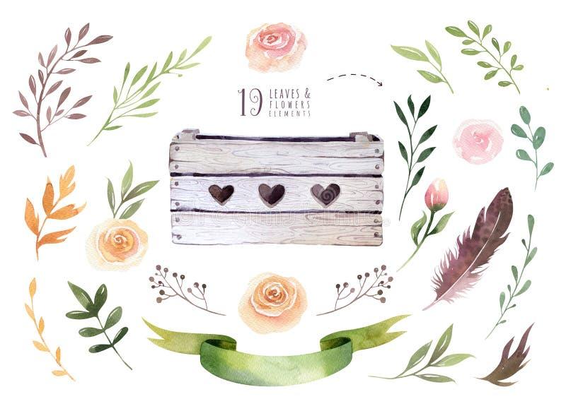 Вручите изолированной чертежом акварели boho флористическую иллюстрацию с листьями, ветвями, цветками, деревянной коробкой Богемс иллюстрация вектора