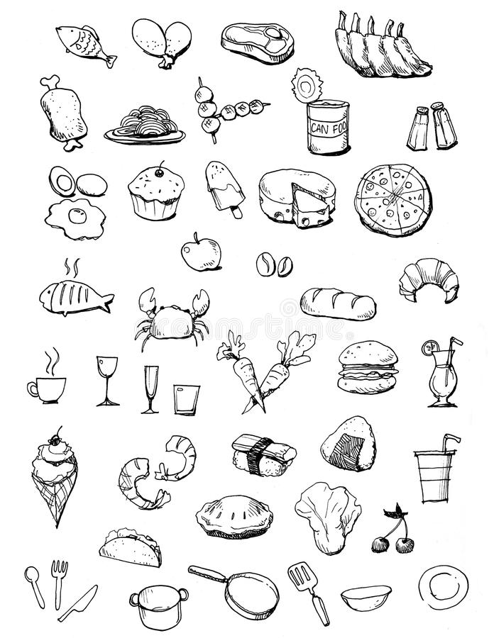 Иллюстрация икон еды нарисованная рукой бесплатная иллюстрация