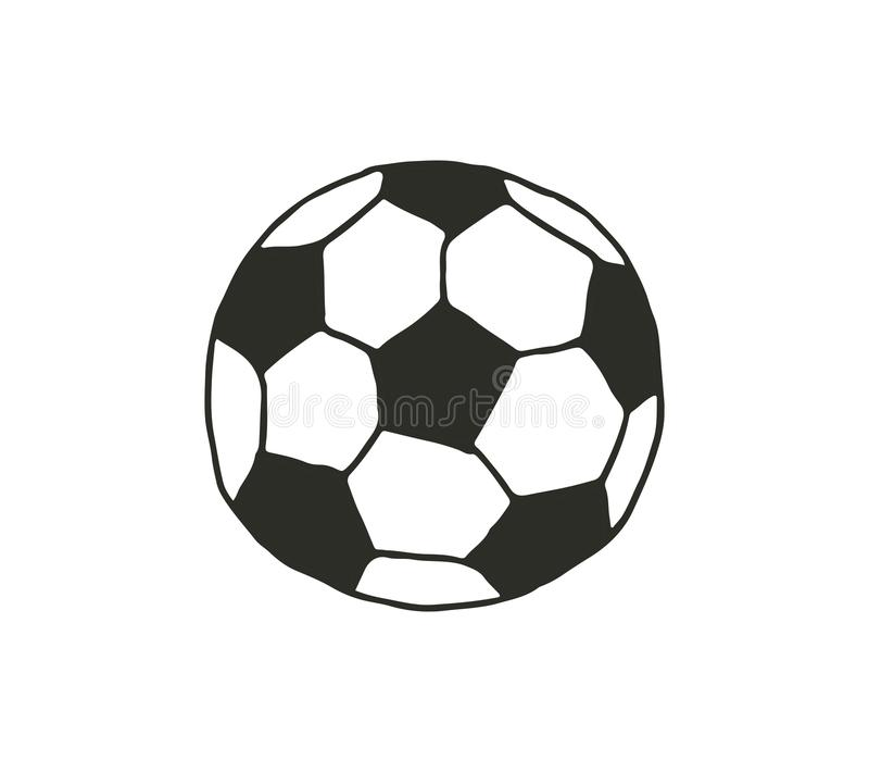 Вручите иллюстрацию шарика футбола шаржа вектора притяжки на белой предпосылке бесплатная иллюстрация