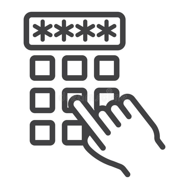 Вручите линию кода значок штыря пальца входя в, откройте иллюстрация вектора