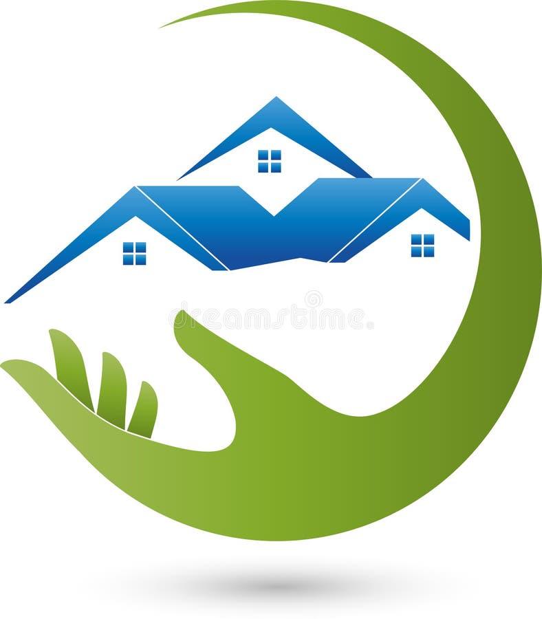 Вручите и 3 дома, недвижимость и расквартируйте логотип иллюстрация штока