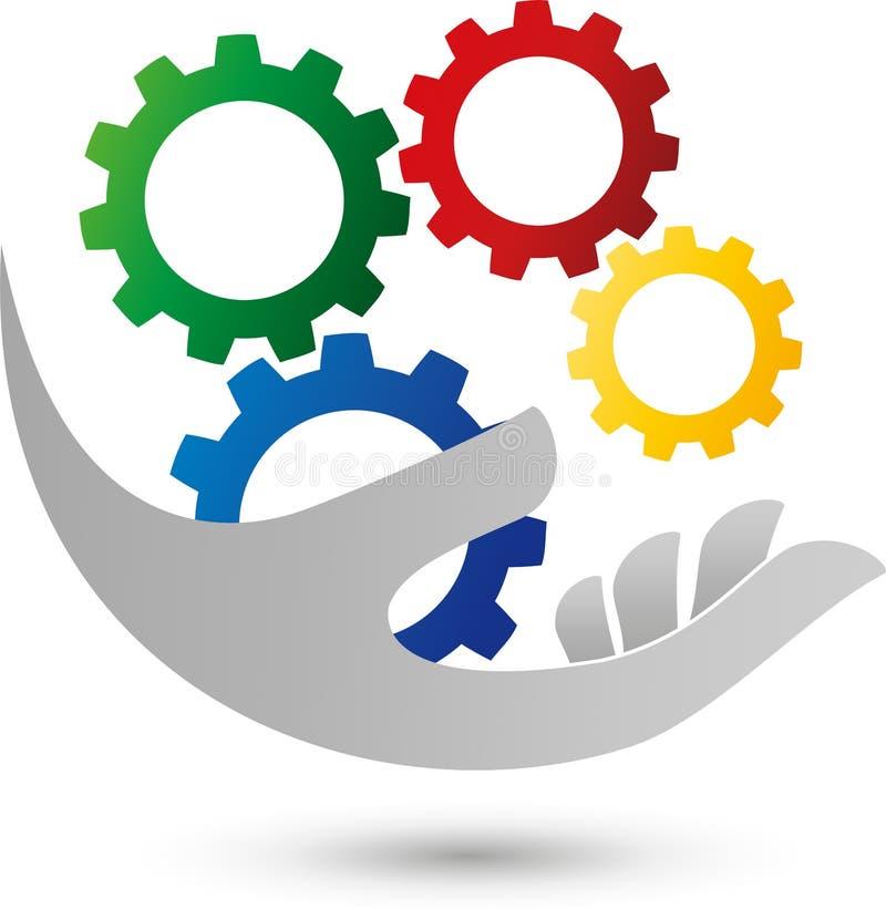Вручите и 4 покрашенная шестерни, механик и логотип индустрии бесплатная иллюстрация