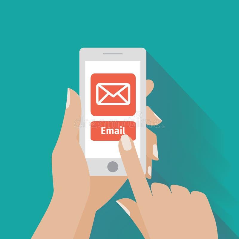 Вручите касающий умный телефон с символом электронной почты на иллюстрация вектора