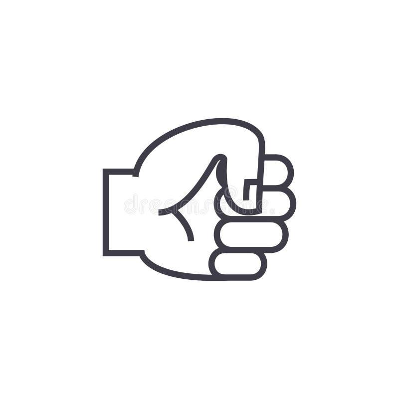 Вручите линию значок вектора кулака, знак, иллюстрацию на предпосылке, editable ходах иллюстрация штока