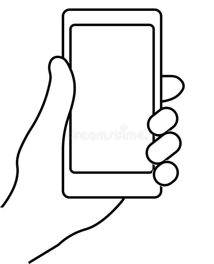 вручите мобильный телефон иллюстрация вектора