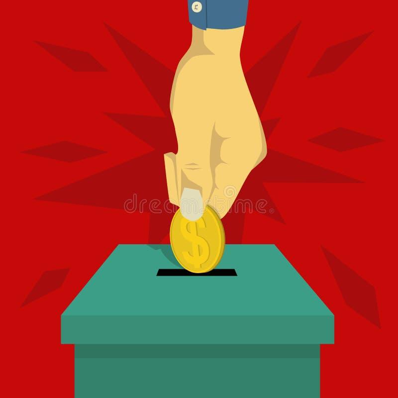 Вручите монетки вставки в коробку призрения бесплатная иллюстрация