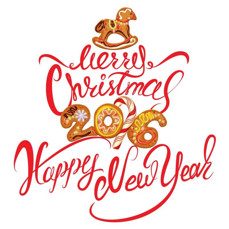 Вручите написанную каллиграфическую ду текста с Рождеством Христовым и счастливую новую иллюстрация вектора