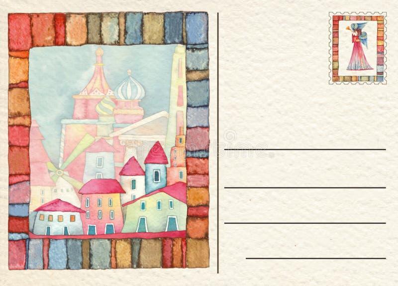 Вручите нарисованную назад открытку с сценой рождества рождества иллюстрация вектора
