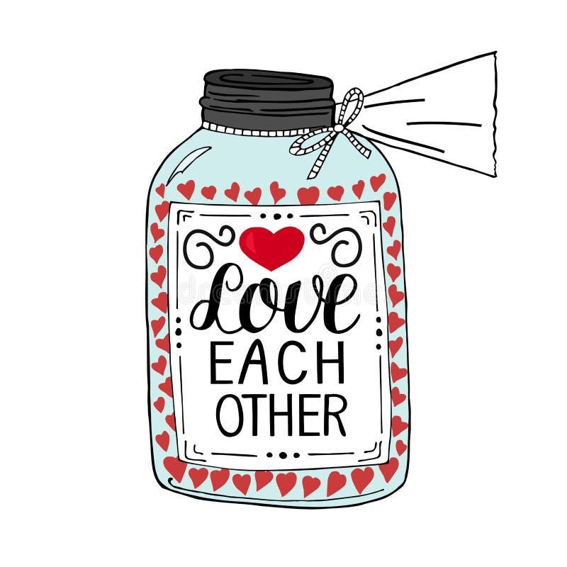 Вручите один другого влюбленности литерности, сделанный на баке с сердцами иллюстрация вектора