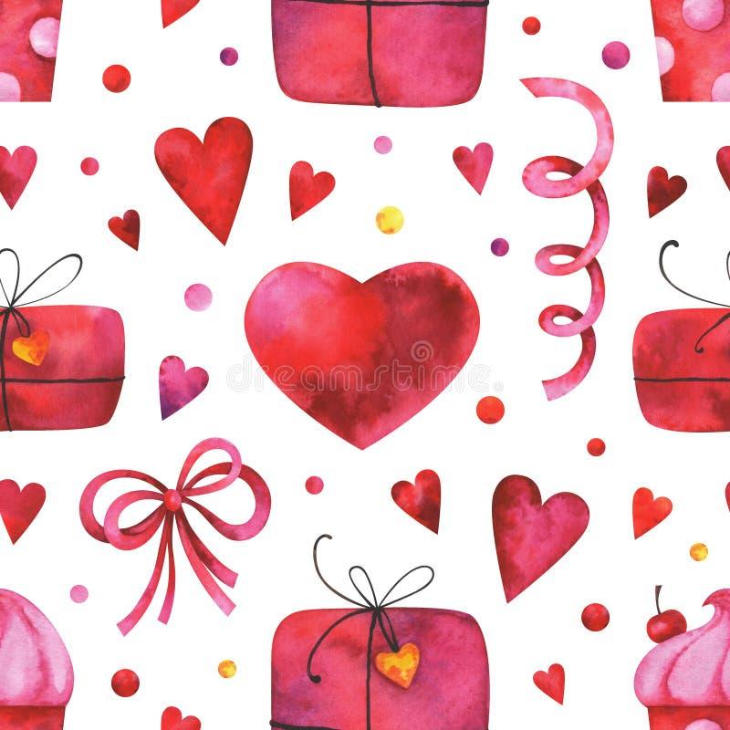 Вручите покрашенной акварели безшовную картину с сердцами, подарочными коробками, тортом, смычком, гирляндами на белой предпосылк иллюстрация вектора