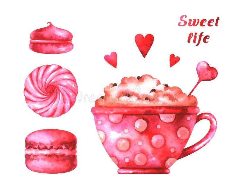 Вручите покрашенную иллюстрацию с macaroons акварели, зефирами, чашкой с кофе, красными сердцами и ` жизни ` текста сладостным бесплатная иллюстрация