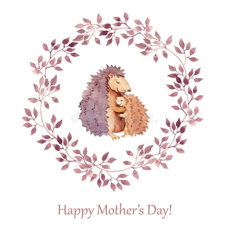 Вручите покрашенную поздравительную открытку на день матерей с милым животным - будьте матерью ежа обнимая ее ребенка акварель иллюстрация вектора