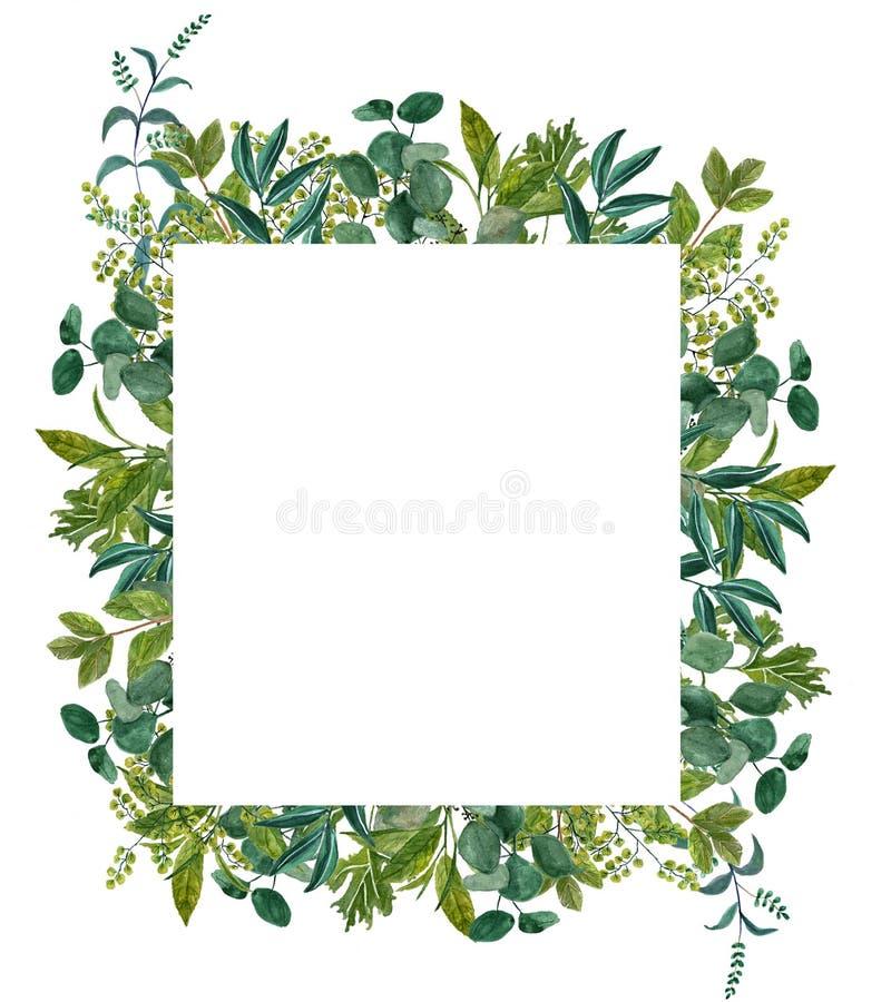 Вручите покрашенную рамку листьев акварели, совершенную для поздравительной открытки, свадьбы приглашает, ремесла иллюстрация вектора