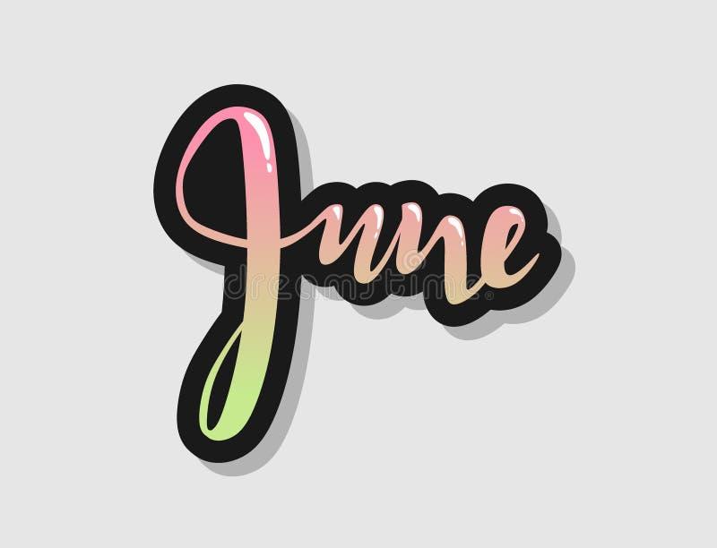 Вручите помечать буквами ombre логотипа месяца Нового Года знака в июне помечая буквами декоративную каллиграфию градиента оформл иллюстрация штока