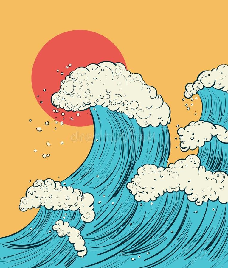 Вручите притяжке иллюстрацию шаржа волны в японском стиле Чертеж вектора цифровой иллюстрация штока