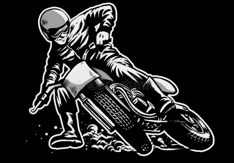 Вручите притяжку человека ехать плоская гонка мотоцикла следа иллюстрация вектора