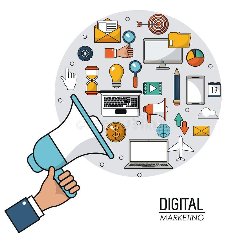 Вручите проводить диктора цифровой интернет маркетинга деля событие иллюстрация вектора