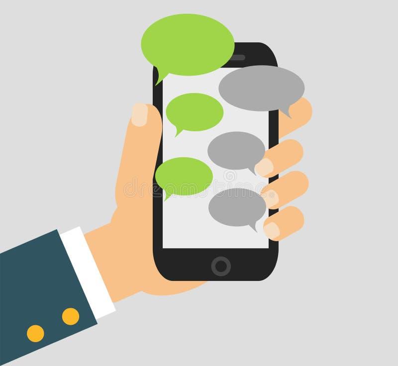 Вручите продырявливать черный smartphone подобный к iphon с пустыми пузырями речи для текста Идея проекта обмена текстовыми сообщ иллюстрация штока