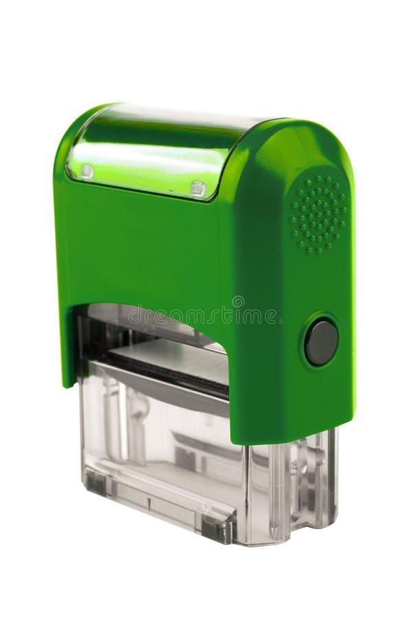 Вручите прямоугольный автоматический штемпель, цвет бриллиантового зеленого стоковая фотография