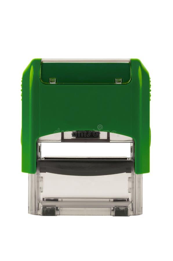 Вручите прямоугольный автоматический штемпель, цвет бриллиантового зеленого стоковые фото