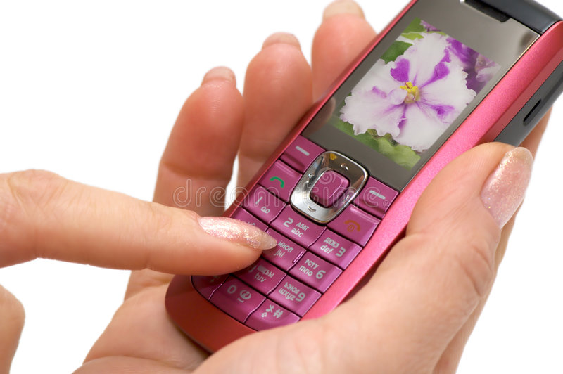 вручите телефон стоковое изображение