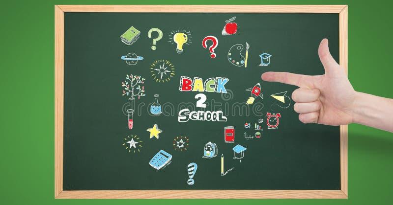 Вручите указывать на назад к чертежу школьного образования на классн классном стоковое фото