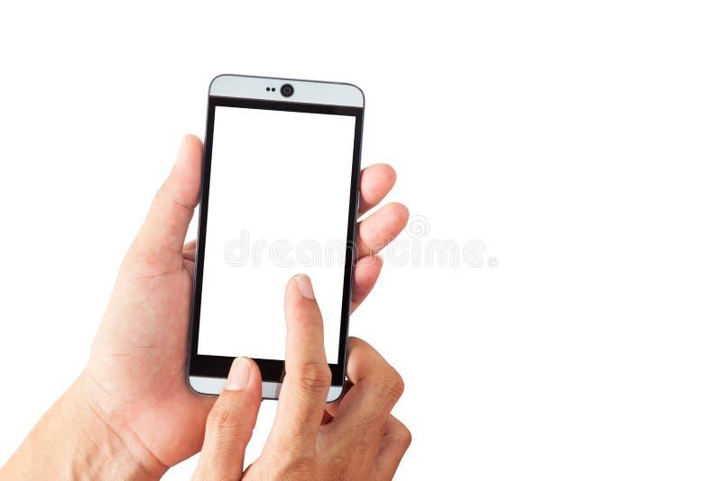 Вручите удерживание мужчины и касайтесь smartphone, пустому экрану изолированному дальше стоковая фотография rf