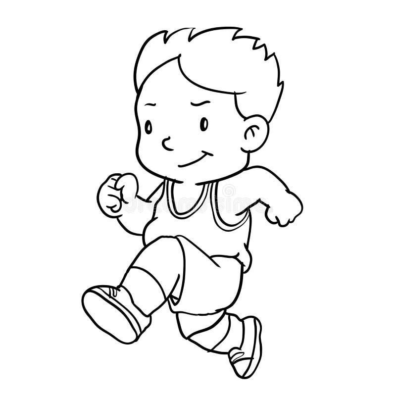Вручите чертеж хода мальчика - Vector иллюстрация