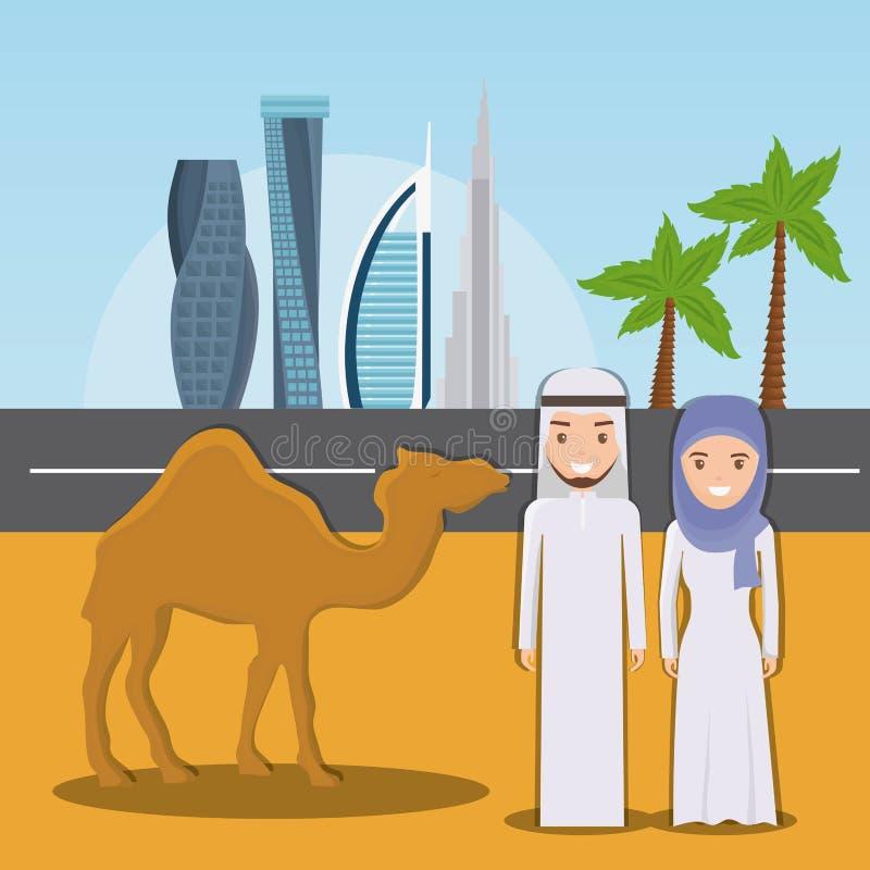 Всадники верблюда в пустыне на предпосылке города Дубай иллюстрация штока