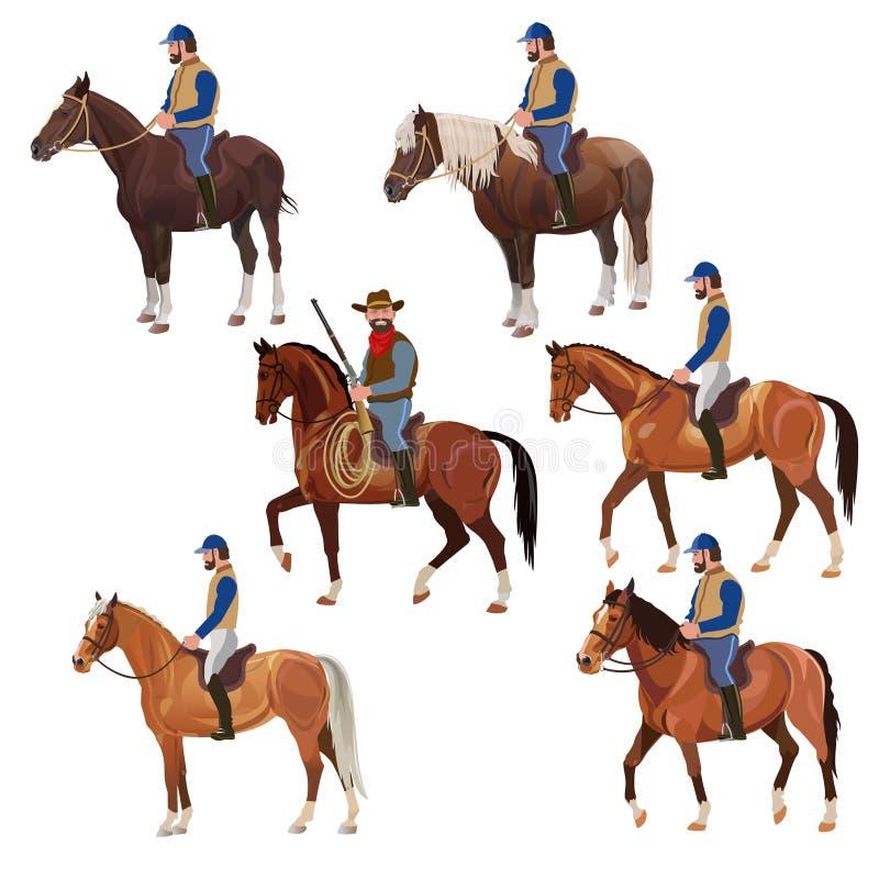 Всадники на наборе спин лошади бесплатная иллюстрация