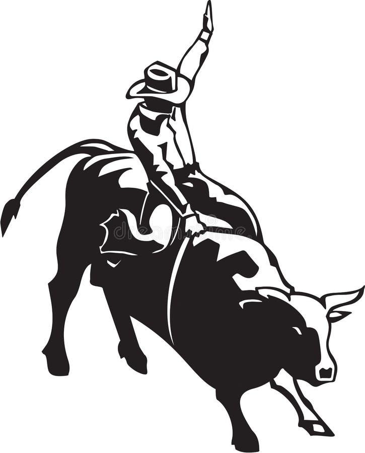 всадник быка иллюстрация вектора