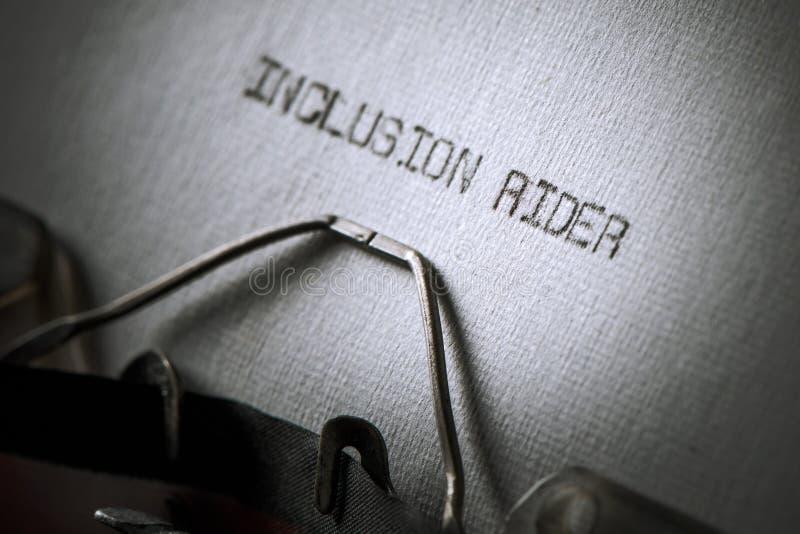 Всадник включения текста написанный с машинкой стоковое изображение