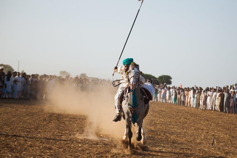 Всадник лошади, ехать в шатре прикрепляя событие стоковое фото