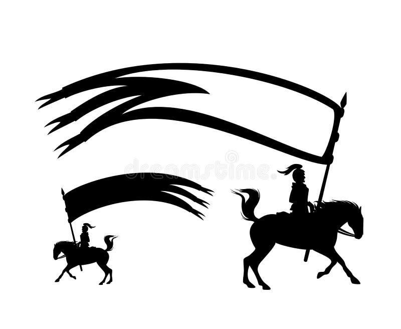 Всадник рыцаря с длинным силуэтом вектора черноты знамени бесплатная иллюстрация