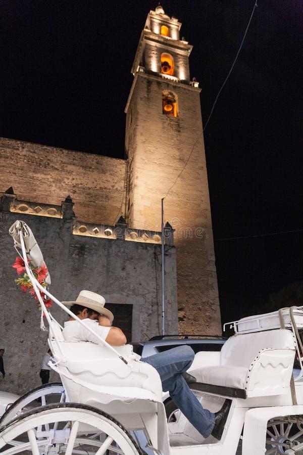 Всадник экипажа лошади отдыхая в улице города вечера в Merid стоковые фото