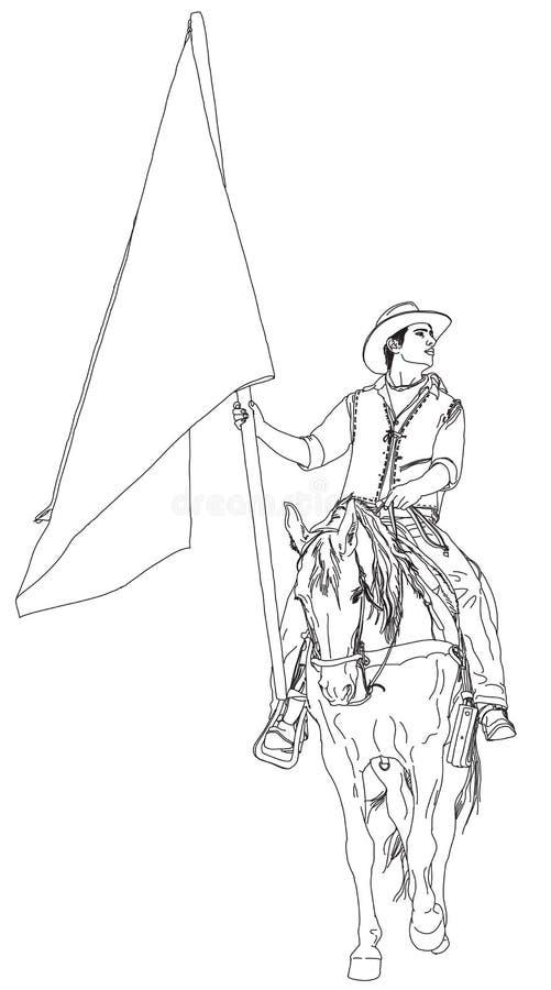 всадник horseback флага иллюстрация штока