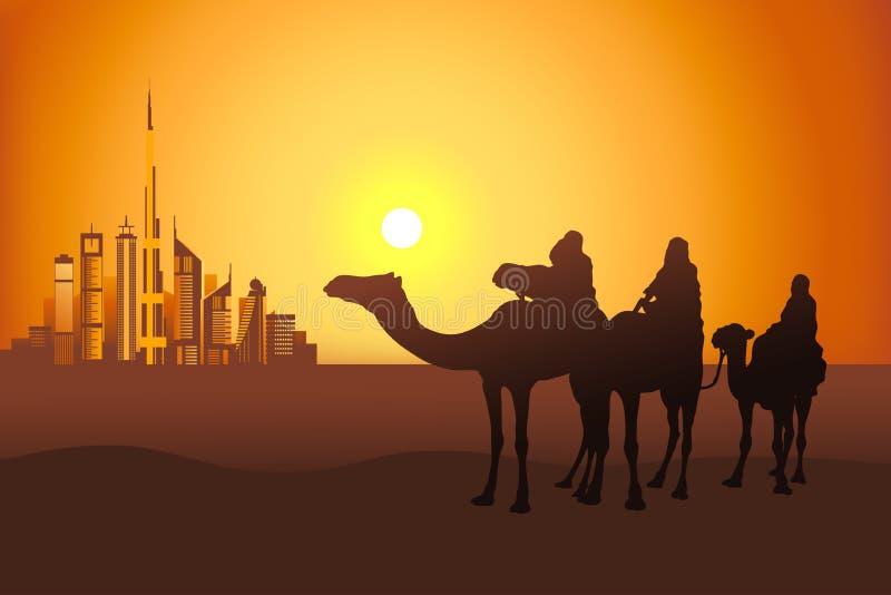 Всадники верблюда в пустыне около города Дубай иллюстрация вектора