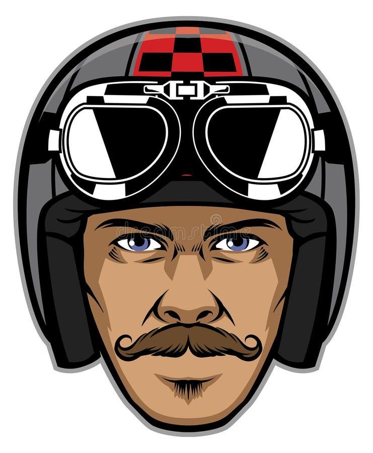 Всадник мотоцикла с усиком и нося винтажным шлемом бесплатная иллюстрация