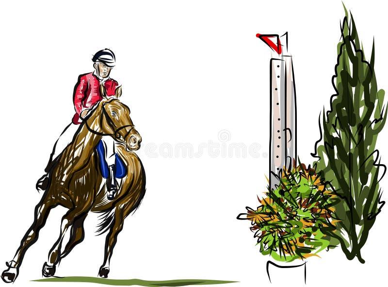 Всадник на скакать лошади иллюстрация штока