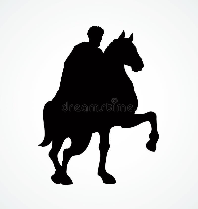 Всадник на horseback предпосылка рисуя флористический вектор травы бесплатная иллюстрация