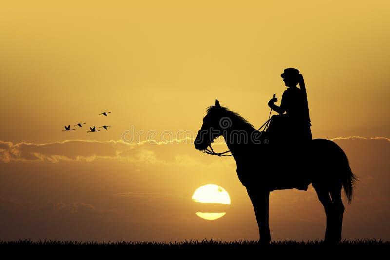 Всадник на horseback иллюстрация штока