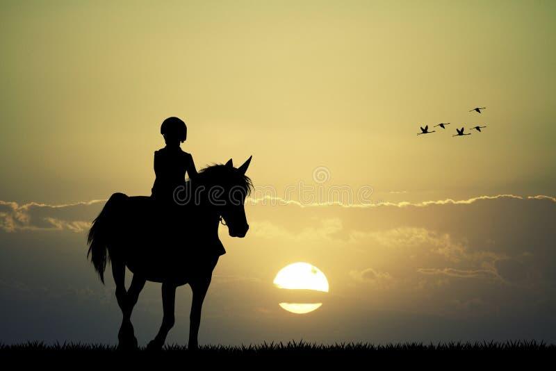 Всадник на horseback иллюстрация вектора