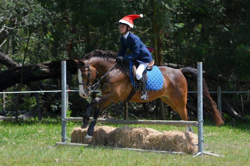 Всадник пони скача с шляпой рождества отца стоковая фотография